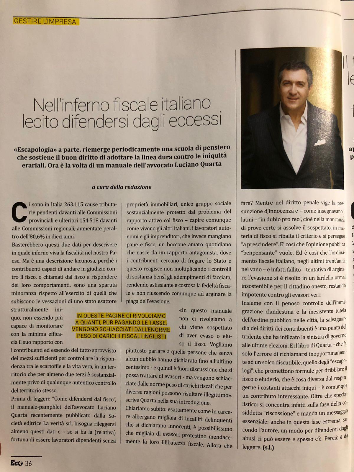 """Economy magazine recensisce """"Come difendersi dal fisco"""""""